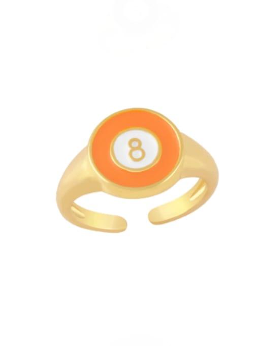 orange Brass Enamel Geometric Minimalist Band Ring