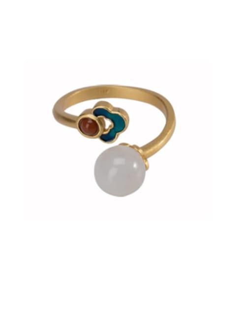 DEER 925 Sterling Silver Jade Enamel Flower Vintage Drop Earring 4