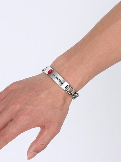 CONG Titanium Steel Geometric Minimalist Link Bracelet 1
