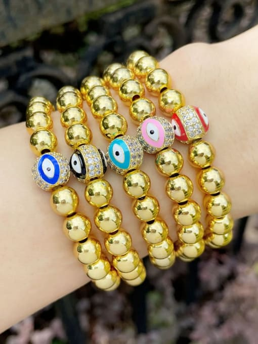 CC Brass Rhinestone Enamel Evil Eye Vintage Beaded Bracelet 1