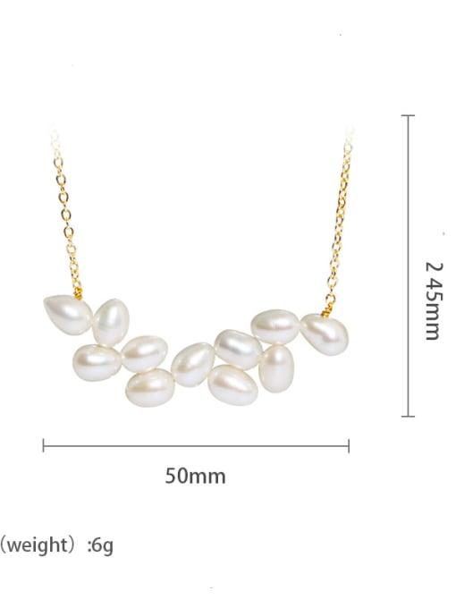 gold+white Brass Freshwater Pearl Geometric Minimalist Necklace