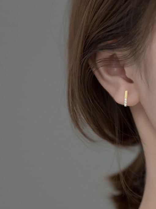 Rosh 925 Sterling Silver Cubic Zirconia Geometric Minimalist Stud Earring 1
