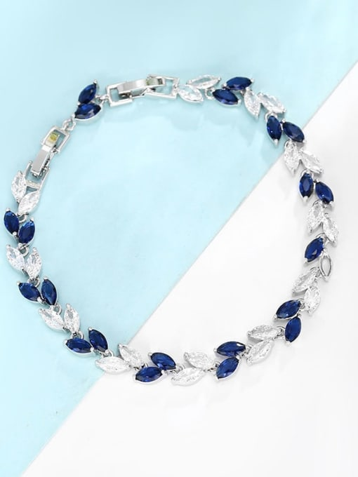 Platinum gold dark blue with white Brass Cubic Zirconia Multi Color Leaf Dainty Bracelet