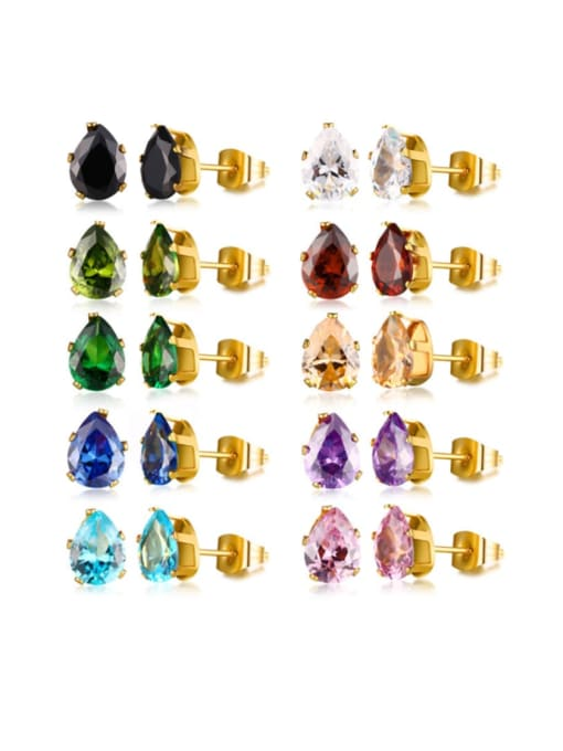 CONG Stainless steel Glass Stone Water Drop Vintage Stud Earring