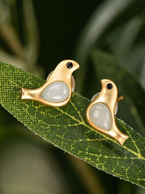 DEER 925 Sterling Silver Jade Bird Cute Stud Earring 3