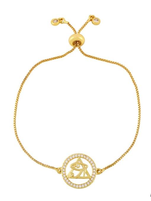 CC Brass Cubic Zirconia Geometric Hip Hop Adjustable Bracelet 0