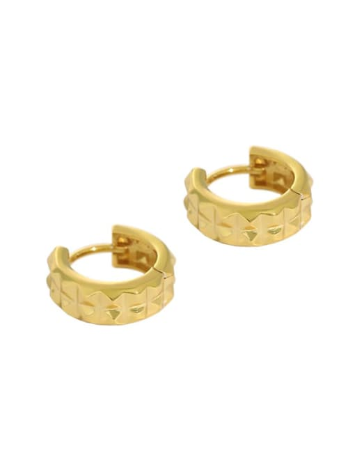 golden 925 Sterling Silver Vintage  Smooth gear Circle Huggie Earring