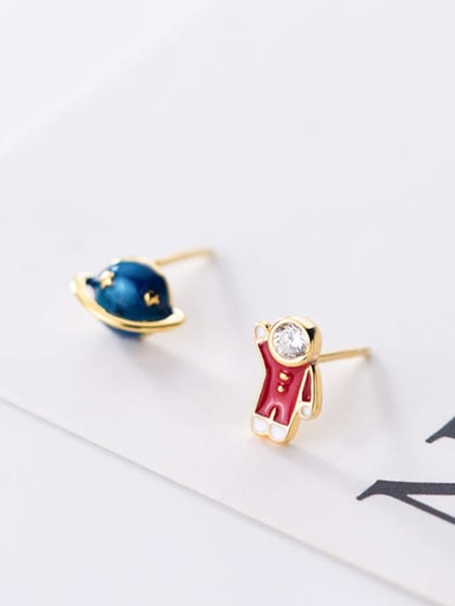 Rosh 925 Sterling Silver  Minimalist Cute cartoon astronaut stylish blue planet  Stud Earring 2