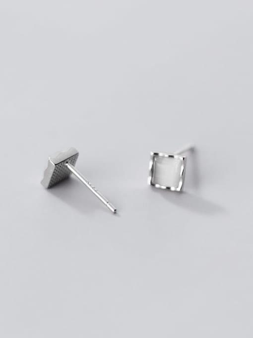 Rosh 925 Sterling Silver Cats Eye Geometric Minimalist Stud Earring 4