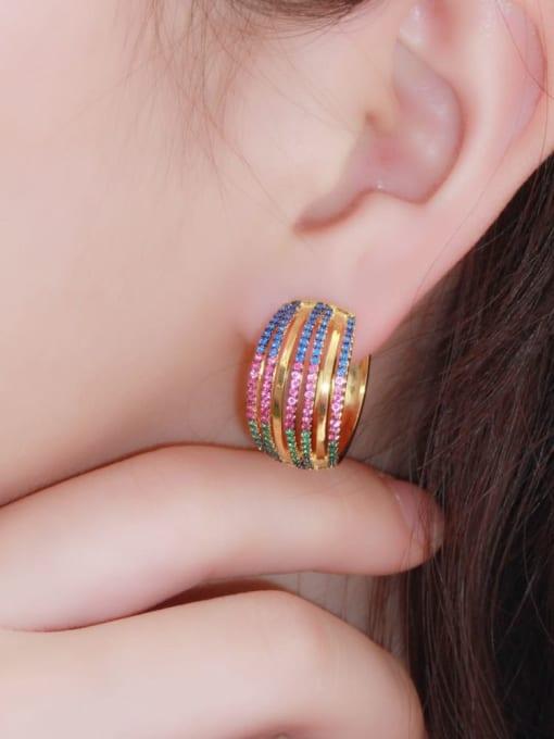 L.WIN Brass Cubic Zirconia Geometric Luxury Stud Earring 3
