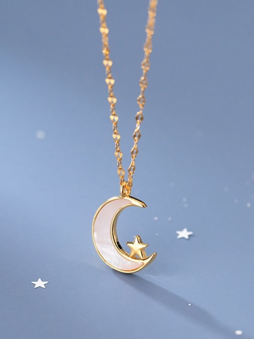 Rosh 925 Sterling Silver Shell Moon Minimalist Pendant Necklace 1