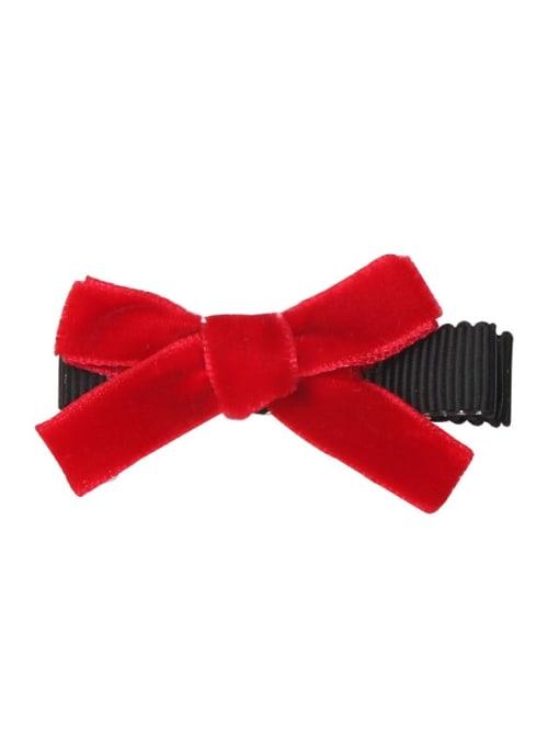 6 Samba red Alloy Fabric Cute Bowknot  Multi Color Hair Barrette