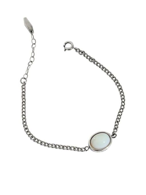 Retro Silver 925 Sterling Silver Cats Eye Geometric Vintage Link Bracelet