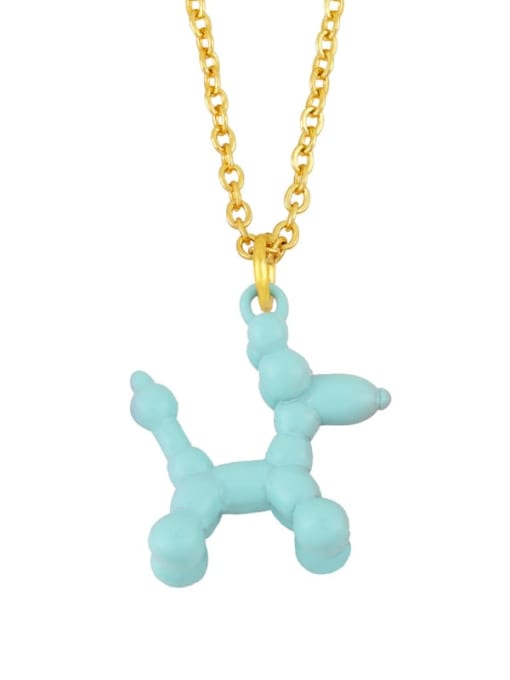 blue Brass Enamel Cute Dog Pendant Necklace