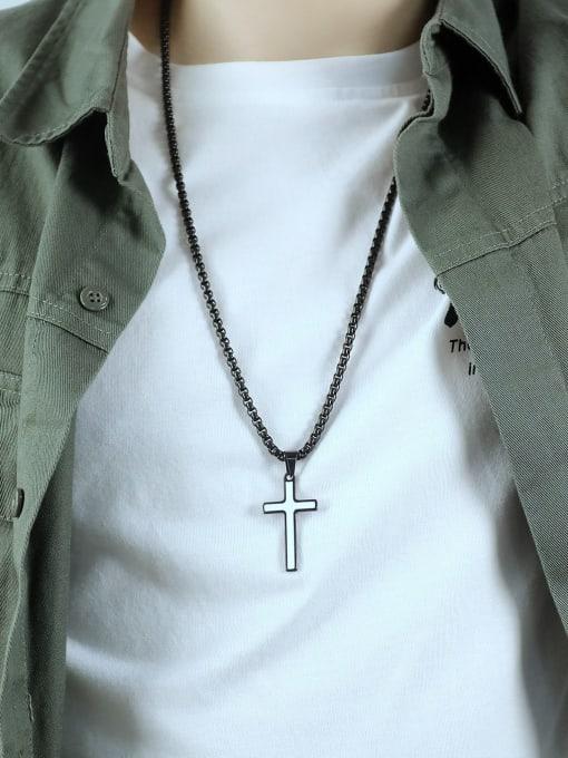 Open Sky Titanium Steel Enamel Cross Hip Hop Necklace 1