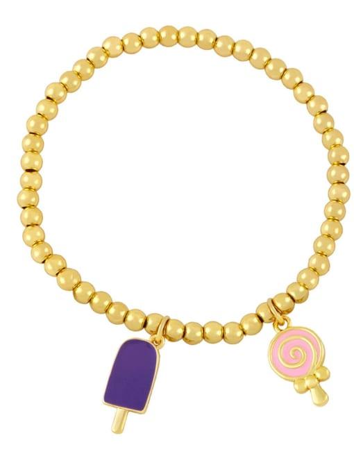 purple pink Brass Enamel Heart Vintage Beaded Bracelet