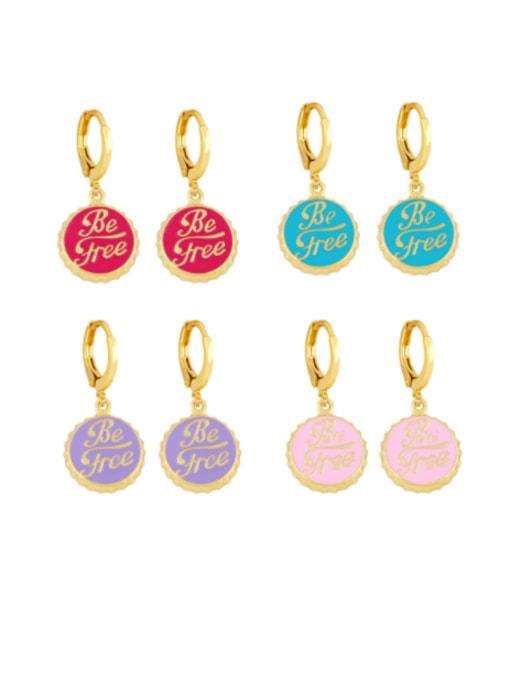 CC Brass Enamel Round Letter Vintage Huggie Earring 0