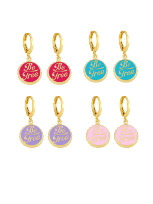 CC Brass Enamel Round Letter Vintage Huggie Earring
