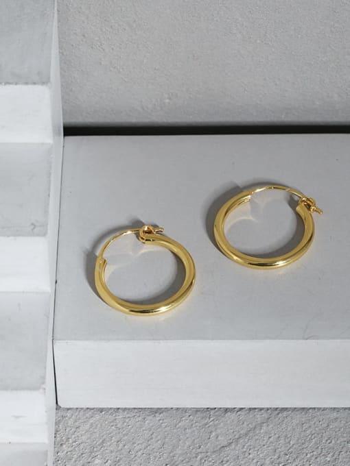 DAKA 925 Sterling Silver Smooth Round Minimalist Hoop Earring 1