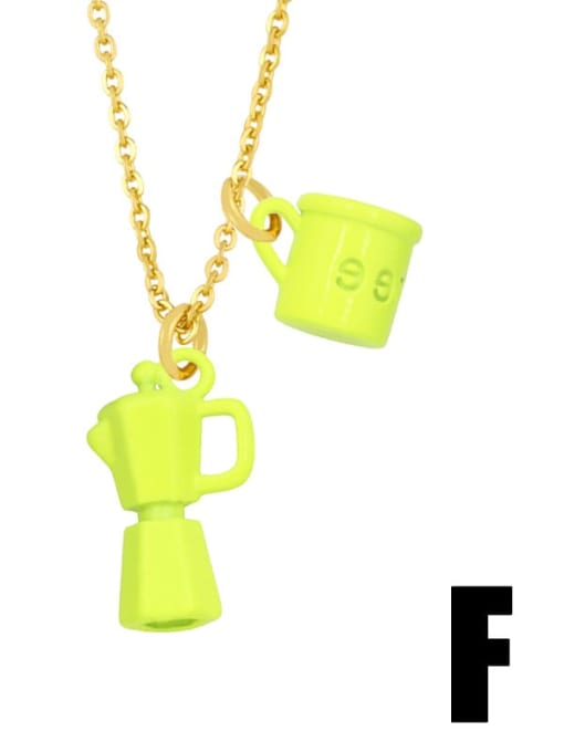 F (yellow) Brass Enamel Irregular Vintage Necklace