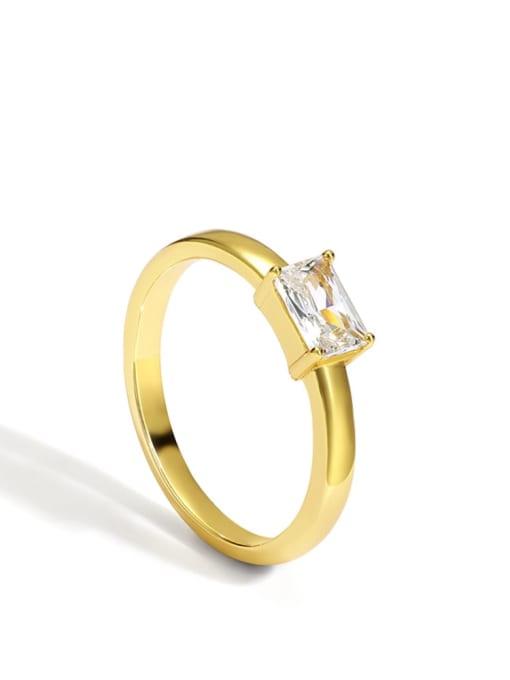 Gold Brass Cubic Zirconia Geometric Minimalist Band Ring