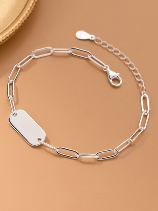 Rosh 925 Sterling Silver Geometric Minimalist Link Bracelet
