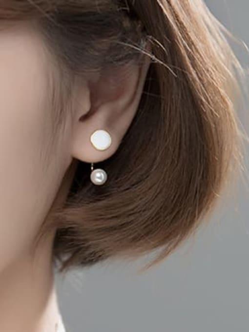Rosh 925 Sterling Silver Imitation Pearl Geometric Minimalist Hook Earring 1