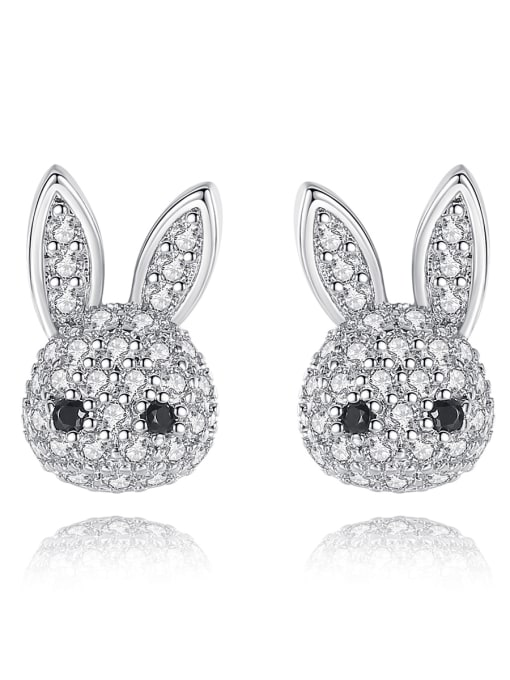 BLING SU Copper Cubic Zirconia rabbit Luxury Stud Earring 0