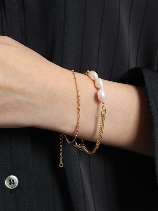 DAKA 925 Sterling Silver Freshwater Pearl Geometric Minimalist Strand Bracelet 2