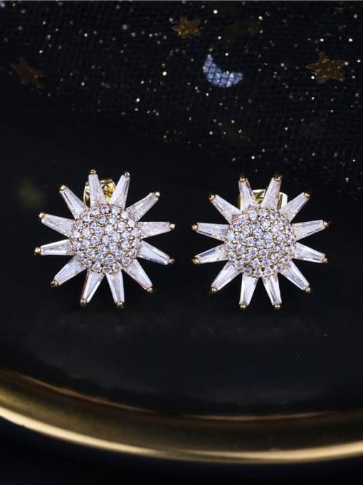 DUDU Brass Cubic Zirconia Sun Flower Luxury Stud Earring 3