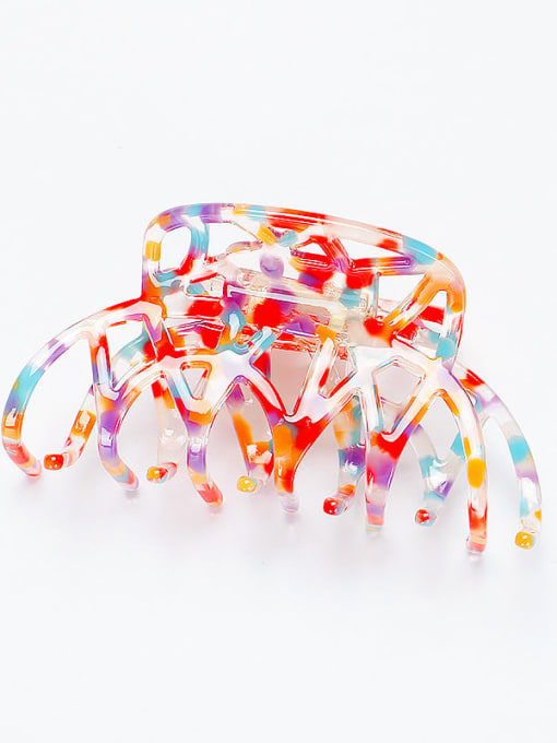 red Cellulose Acetate Minimalist Geometric Zinc Alloy Multi Color Jaw Hair Claw