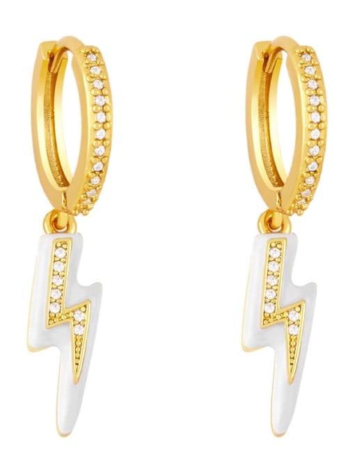 white Brass Enamel Irregular Cute Huggie Earring