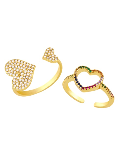 CC Brass Cubic Zirconia Heart Minimalist Band Ring 0