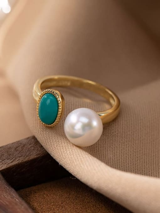 Ring (open) 925 Sterling Silver Turquoise Irregular  Vintage Pendant