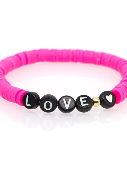 QT B200011 Stainless steel Multi Color Polymer Clay Letter Bohemia Stretch Bracelet