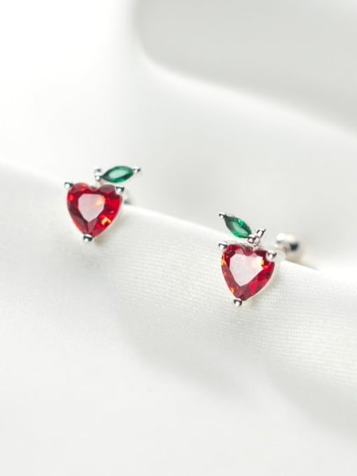 Rosh 925 Sterling Silver Cubic Zirconia Heart Minimalist Stud Earring