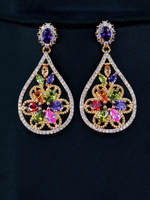 Champagne gold Brass Cubic Zirconia Geometric Luxury Drop Earring
