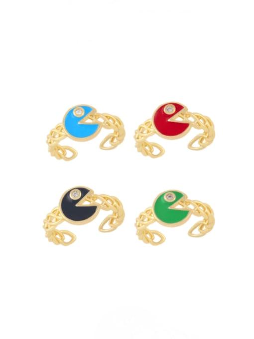 CC Brass Enamel Geometric Vintage Band Ring 0