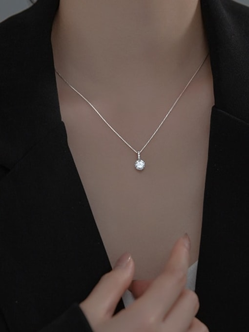 Rosh 925 Sterling Silver Rhinestone Round Minimalist Necklace 1