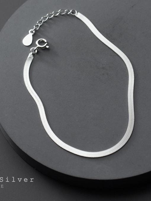 Rosh 925 Sterling Silver Minimalist Flat snake bone chain bracelet  Link Bracelet 3