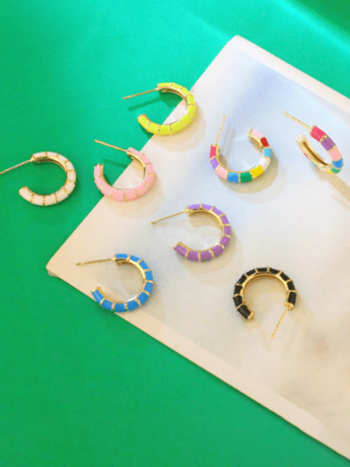CC Brass Enamel Geometric Minimalist Stud Earring 1