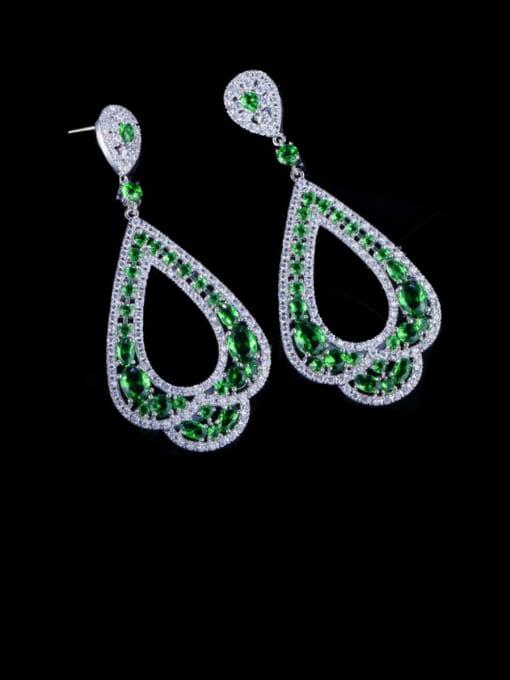 L.WIN Brass Cubic Zirconia Water Drop Luxury Drop Earring