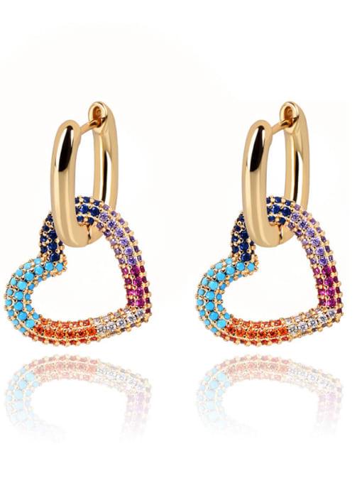 DUDU Brass Cubic Zirconia Heart Luxury Huggie Earring