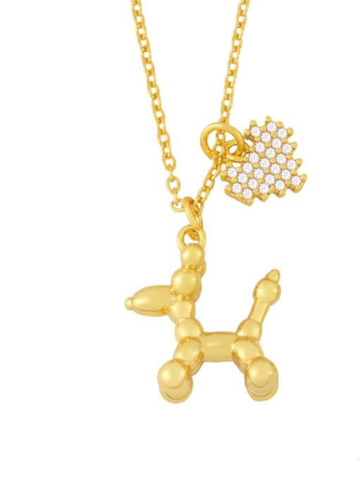 CC Brass Cubic Zirconia Animal Vintage Necklace