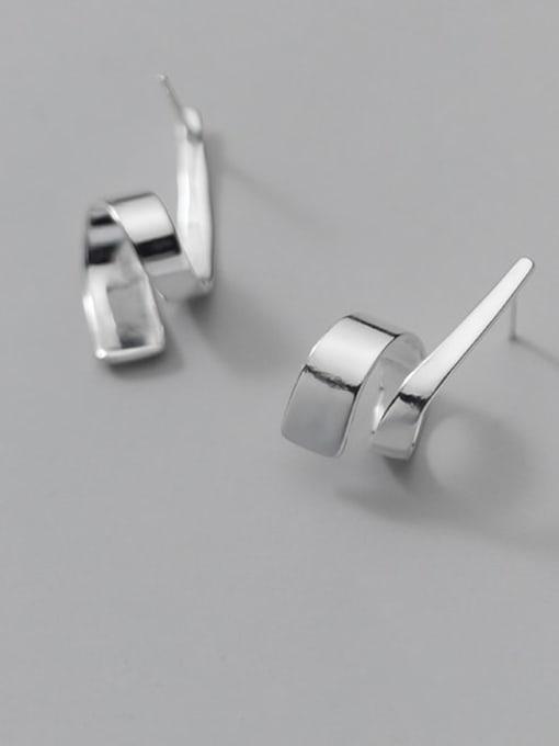 Rosh 925 Sterling Silver Irregular Line Minimalist Stud Earring