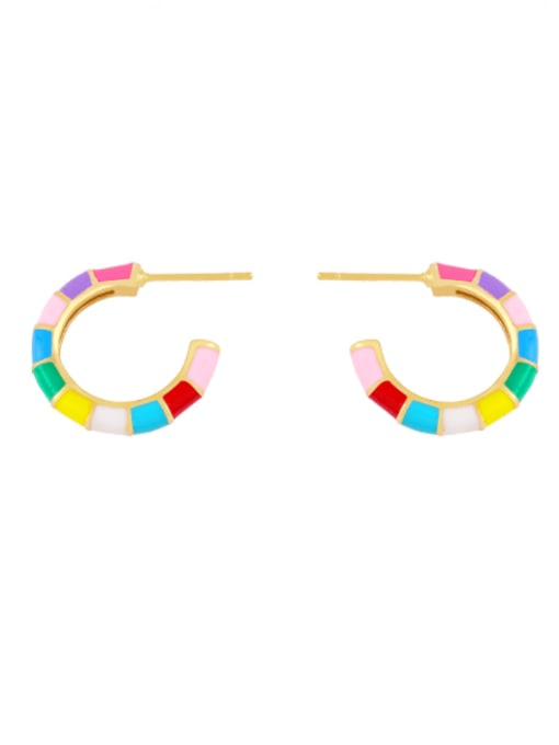 colour Brass Enamel Geometric Minimalist Stud Earring