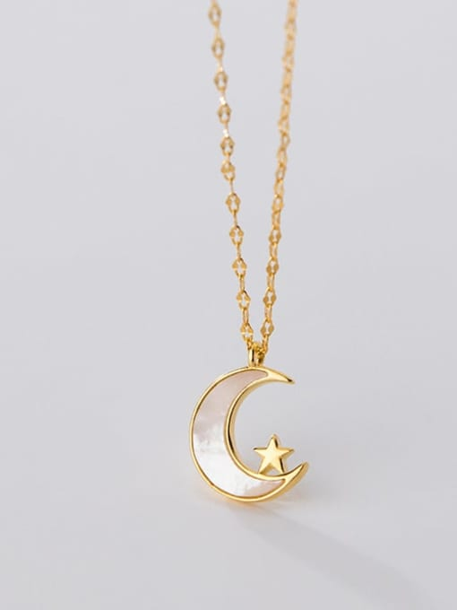 Rosh 925 Sterling Silver Shell Moon Minimalist Pendant Necklace 2