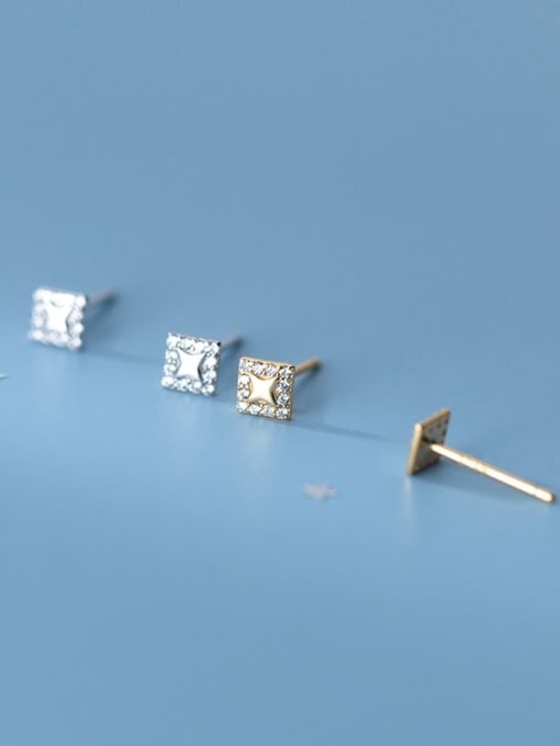 Rosh 925 Sterling Silver Rhinestone Square Minimalist Stud Earring 1