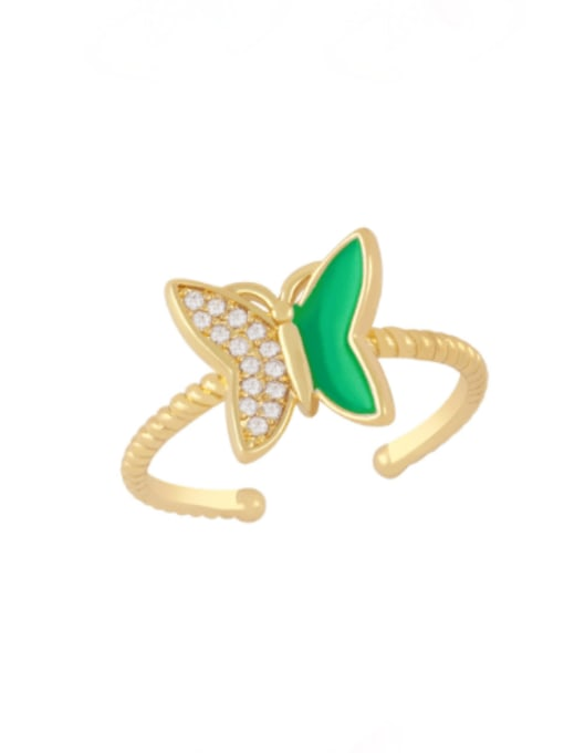 green Brass Enamel Rhinestone Butterfly Minimalist Band Ring