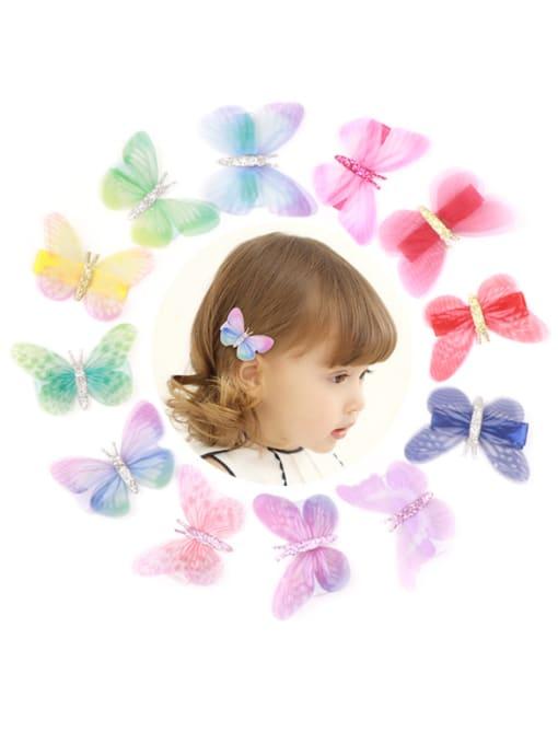 YOKI KIDS Alloy Fabric Cute Butterfly  Multi Color Hair Barrette 0
